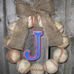 Burlap Baseball Love Wreath with Di..