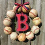 Baseball Love Wreath - With Letter