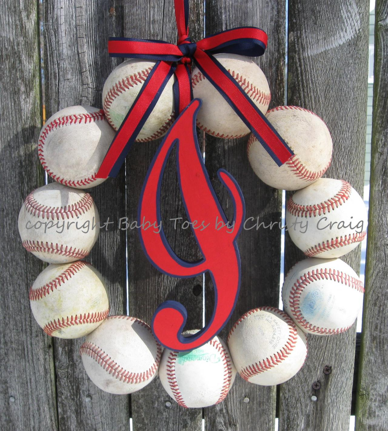 Cleveland Indians Baseball Love Wreath with Script Style I