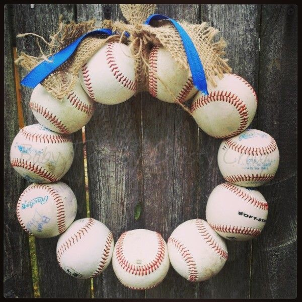 Burlap Baseball Wreath with Tie and Ribbon