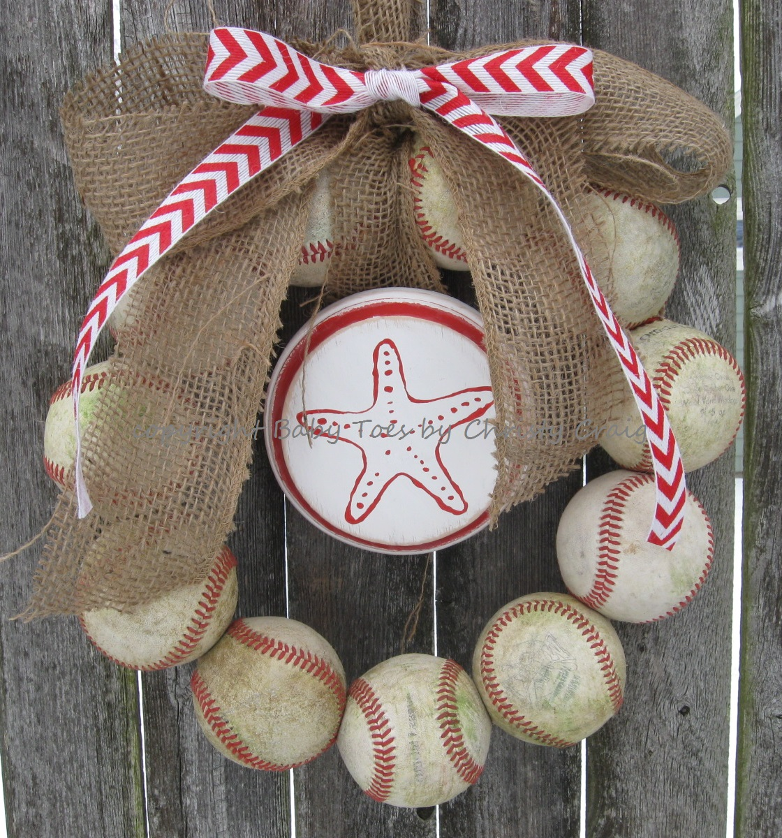 The Original Nautical Red Chevron Burlap Baseball Wreath with Distressed Plaque
