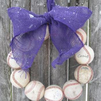 The Original COLORED Burlap Baseball Wreath with Bow